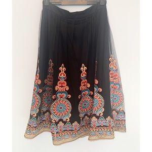 Forever 21 Embroidered Full Skirt